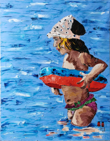 """Painting titled """"She is ready to swim"""" by Gugo, Original Art, Oil"""