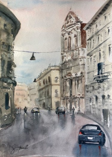 Monument Painting, watercolor, impressionism, artwork by Gustavo Bissolli