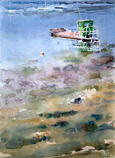 Boat Painting, watercolor, impressionism, artwork by Guy Rossey