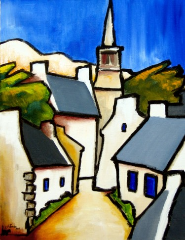 Architecture Painting, acrylic, fauvism, artwork by Guy Terrier