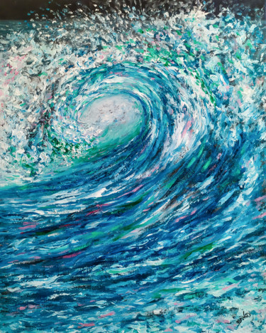 Seascape Painting, oil, expressionism, artwork by Hajar Bahr