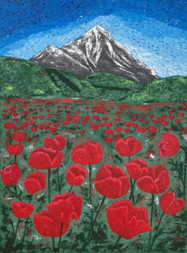 """Painting titled """"The Mountain"""" by Hajnalka Fellmann, Original Art, Acrylic Mounted on Stretcher frame"""