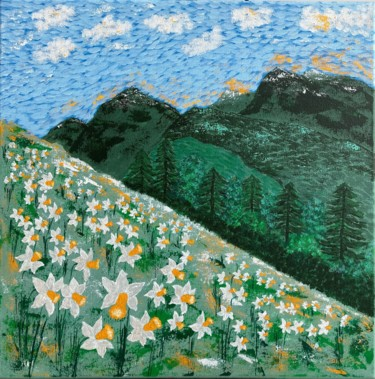 """Painting titled """"Field of daffodils"""" by Hajnalka Fellmann, Original Art, Acrylic Mounted on Stretcher frame"""