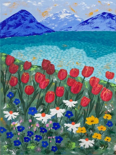"""Painting titled """"Flowers by the lake"""" by Hajnalka Fellmann, Original Art, Acrylic Mounted on Stretcher frame"""
