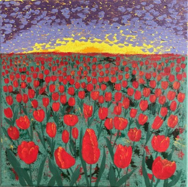 """Painting titled """"Field of tulips at…"""" by Hajnalka Fellmann, Original Art, Acrylic Mounted on Stretcher frame"""