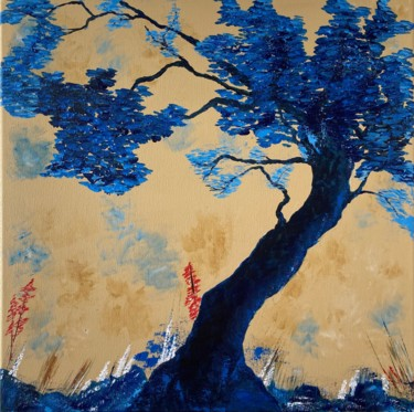 """Painting titled """"Blue nature"""" by Hajnalka Fellmann, Original Art, Acrylic Mounted on Stretcher frame"""