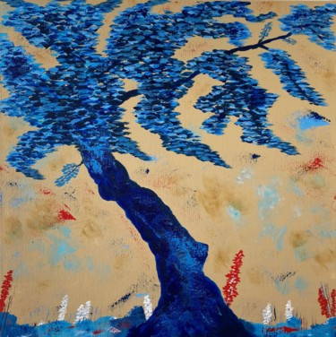 """Painting titled """"Blue abstract tree"""" by Hajnalka Fellmann, Original Art, Acrylic Mounted on Stretcher frame"""