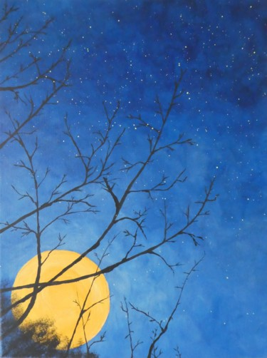 """Painting titled """"Yellow moon"""" by Hajnalka Fellmann, Original Art, Acrylic Mounted on Stretcher frame"""