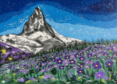 """Painting titled """"The Swiss Mountain…"""" by Hajnalka Fellmann, Original Art, Acrylic Mounted on Stretcher frame"""