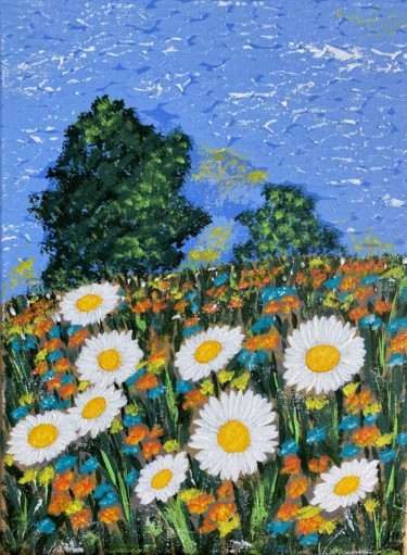 """Painting titled """"A summer day"""" by Hajnalka Fellmann, Original Art, Acrylic Mounted on Stretcher frame"""