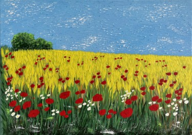 """Painting titled """"Summer in the count…"""" by Hajnalka Fellmann, Original Art, Acrylic Mounted on Stretcher frame"""