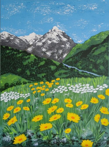 """Painting titled """"Spring in bloom"""" by Hajnalka Fellmann, Original Art, Acrylic Mounted on Stretcher frame"""