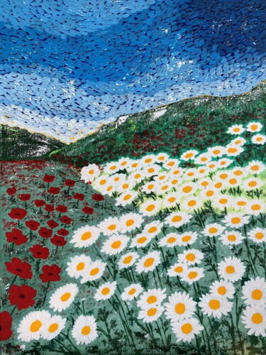 """Painting titled """"Fields of flowers"""" by Hajnalka Fellmann, Original Art, Acrylic Mounted on Stretcher frame"""