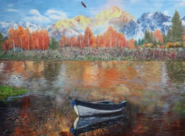 Mountainscape Painting, oil, impressionism, artwork by Kenneth Halvorsen