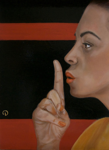 """Painting titled """"Can you keep a secr…"""" by Danielle Hameleers, Original Art, Oil"""