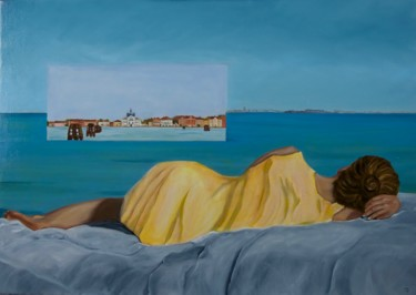 """Painting titled """"City of dreams"""" by Danielle Hameleers, Original Art, Oil Mounted on Stretcher frame"""