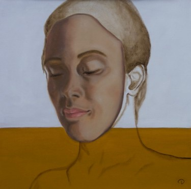 """Painting titled """"Face"""" by Danielle Hameleers, Original Art, Oil Mounted on Stretcher frame"""
