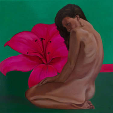 """Painting titled """"Lily"""" by Danielle Hameleers, Original Art, Oil Mounted on Stretcher frame"""