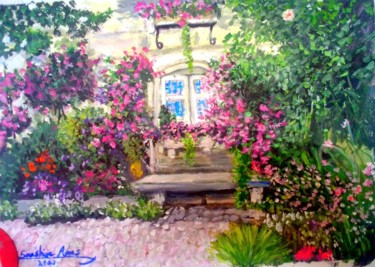 """Painting titled """"Cottage with the ga…"""" by Sunshine Amos (Happipaints), Original Art, Acrylic"""