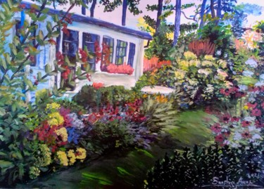 """Painting titled """"Farmhouse with gard…"""" by Sunshine Amos (Happipaints), Original Art, Acrylic"""