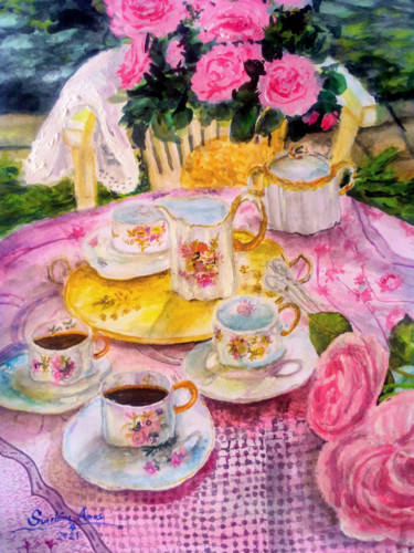 """Painting titled """"Vintage Afternoon"""" by Sunshine Amos (Happipaints), Original Art, Watercolor"""
