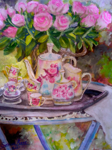 """Painting titled """"When The Sun Goes D…"""" by Sunshine Amos (Happipaints), Original Art, Watercolor"""