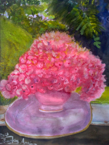 """Painting titled """"Garden Vouge"""" by Sunshine Amos (Happipaints), Original Art, Watercolor"""