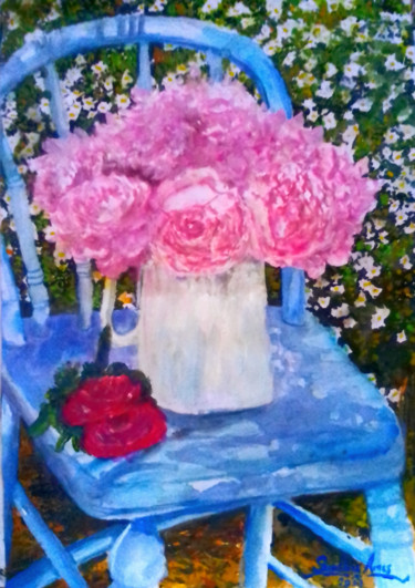 """Painting titled """"Fresh Blooms"""" by Sunshine Amos (Happipaints), Original Art, Watercolor"""