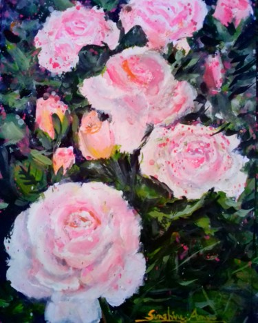 """Painting titled """"The Roses In Blooms"""" by Sunshine Amos (Happipaints), Original Art, Acrylic"""
