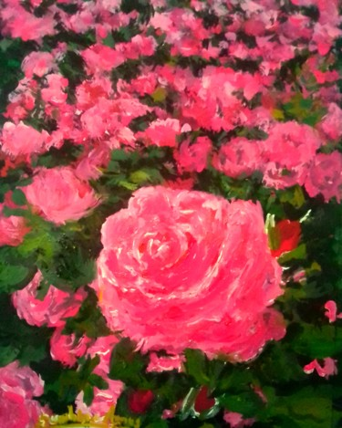 """Painting titled """"Glowing Pink Roses"""" by Sunshine Amos (Happipaints), Original Art, Acrylic"""