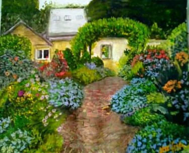 """Painting titled """"The Old English Cot…"""" by Sunshine Amos (Happipaints), Original Art, Acrylic"""