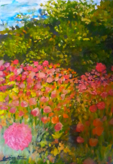 """Painting titled """"Summer Dream Flower…"""" by Sunshine Amos (Happipaints), Original Art, Acrylic"""