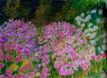"""Painting titled """"Dahlia flowers in F…"""" by Sunshine Amos (Happipaints), Original Art, Watercolor"""