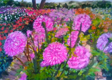 """Painting titled """"Dahlia flowers in G…"""" by Sunshine Amos (Happipaints), Original Art, Acrylic"""