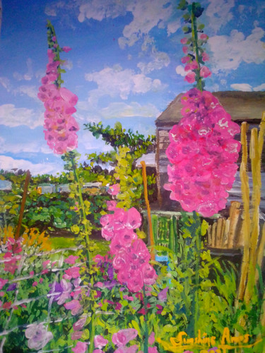 """Painting titled """"Foxglove Sussex"""" by Sunshine Amos (Happipaints), Original Art, Acrylic"""