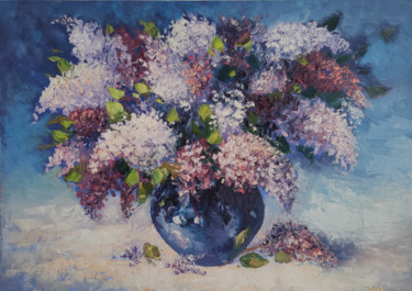 """Painting titled """"Lilacs (50x70cm, oi…"""" by Hayk Miqayelyan, Original Art, Oil Mounted on Stretcher frame"""
