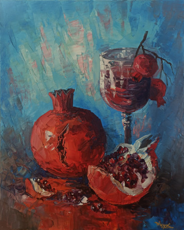 """Painting titled """"Still life with win…"""" by Hayk Miqayelyan, Original Art, Oil Mounted on Stretcher frame"""