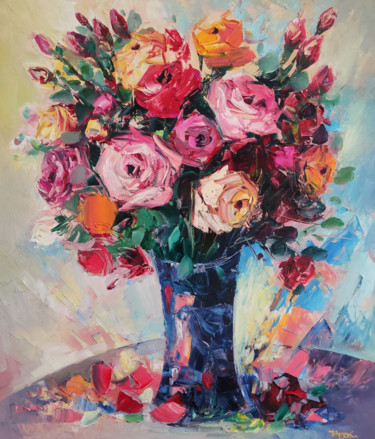 """Painting titled """"Colorful roses (60x…"""" by Hayk Miqayelyan, Original Art, Oil Mounted on Stretcher frame"""