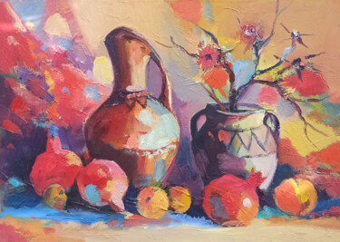 """Painting titled """"Still life with pit…"""" by Hayk Miqayelyan, Original Art, Oil Mounted on Stretcher frame"""