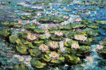 """Painting titled """"Water Lily Pond"""" by Haykuhi Khachatryan, Original Art, Oil"""