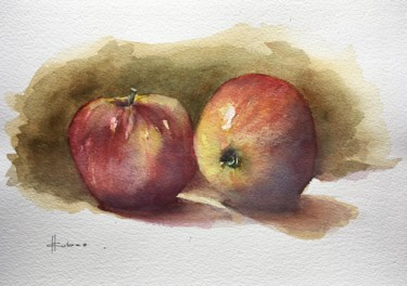 """Painting titled """"Apple Couple"""" by Horacio Cobas, Original Art, Watercolor"""
