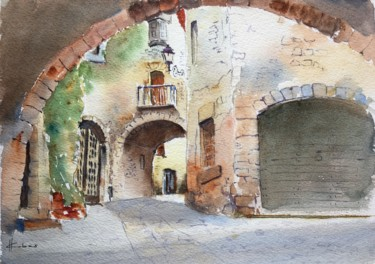 Architecture Painting, watercolor, figurative, artwork by Horacio Cobas