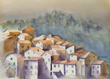 Landscape Painting, watercolor, figurative, artwork by Horacio Cobas