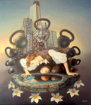 """Painting titled """"Narcissus and his n…"""" by Gyuri Lohmuller, Original Art, Oil"""