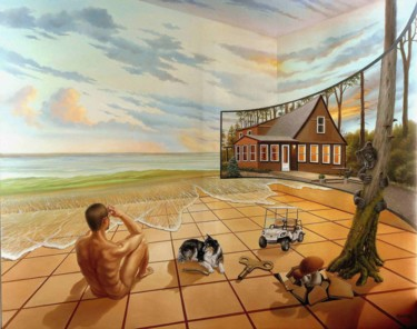 """Painting titled """"Longing for vacation"""" by Gyuri Lohmuller, Original Art, Oil Mounted on Stretcher frame"""