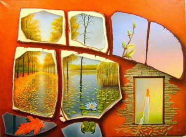 """Painting titled """"Bridge over the win…"""" by Gyuri Lohmuller, Original Art, Oil"""
