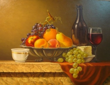 """Painting titled """"still life3 -nature…"""" by Gyuri Lohmuller, Original Art, Oil"""