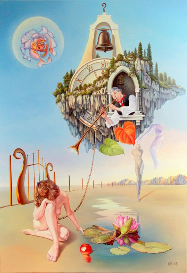"""Painting titled """"between two worlds…"""" by Gyuri Lohmuller, Original Art, Oil Mounted on Stretcher frame"""