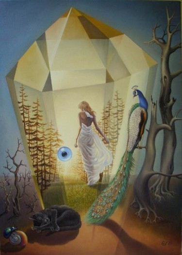 """Painting titled """"Lisa's dream - Le r…"""" by Gyuri Lohmuller, Original Art, Oil"""
