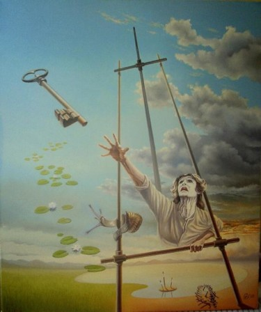 """Painting titled """"A key too far -  Un…"""" by Gyuri Lohmuller, Original Art, Oil"""